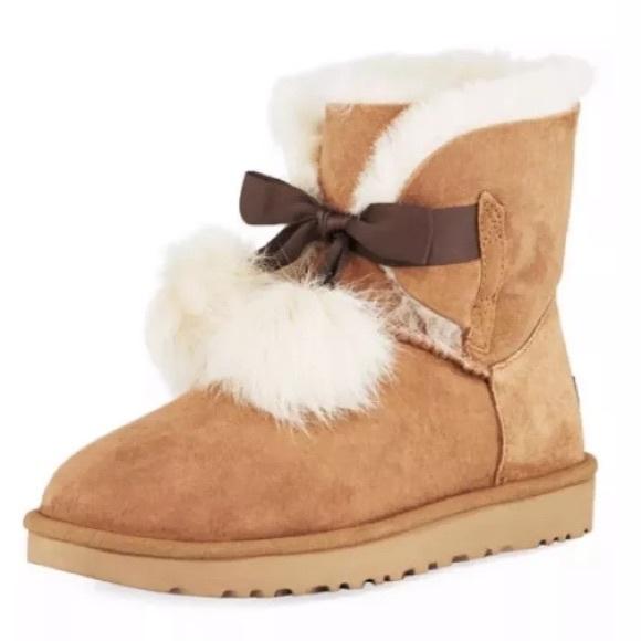 112f651e4aa Ugg Gita Pom Pom boots NWB size 8 chestnut NWT